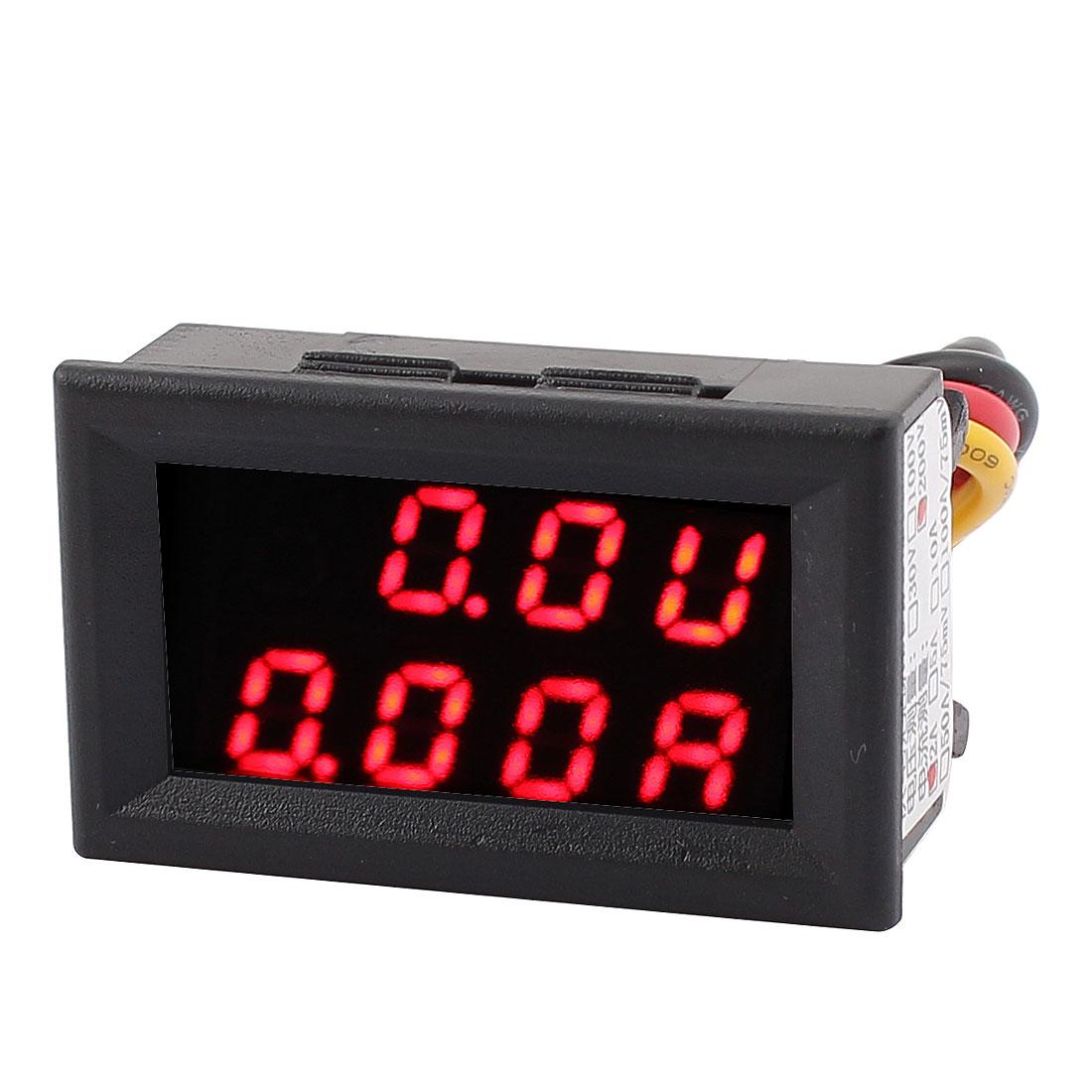 DC 0-200V 0-2A Red LED Dual Digital Display Panel Voltmeter Ammeter Meter
