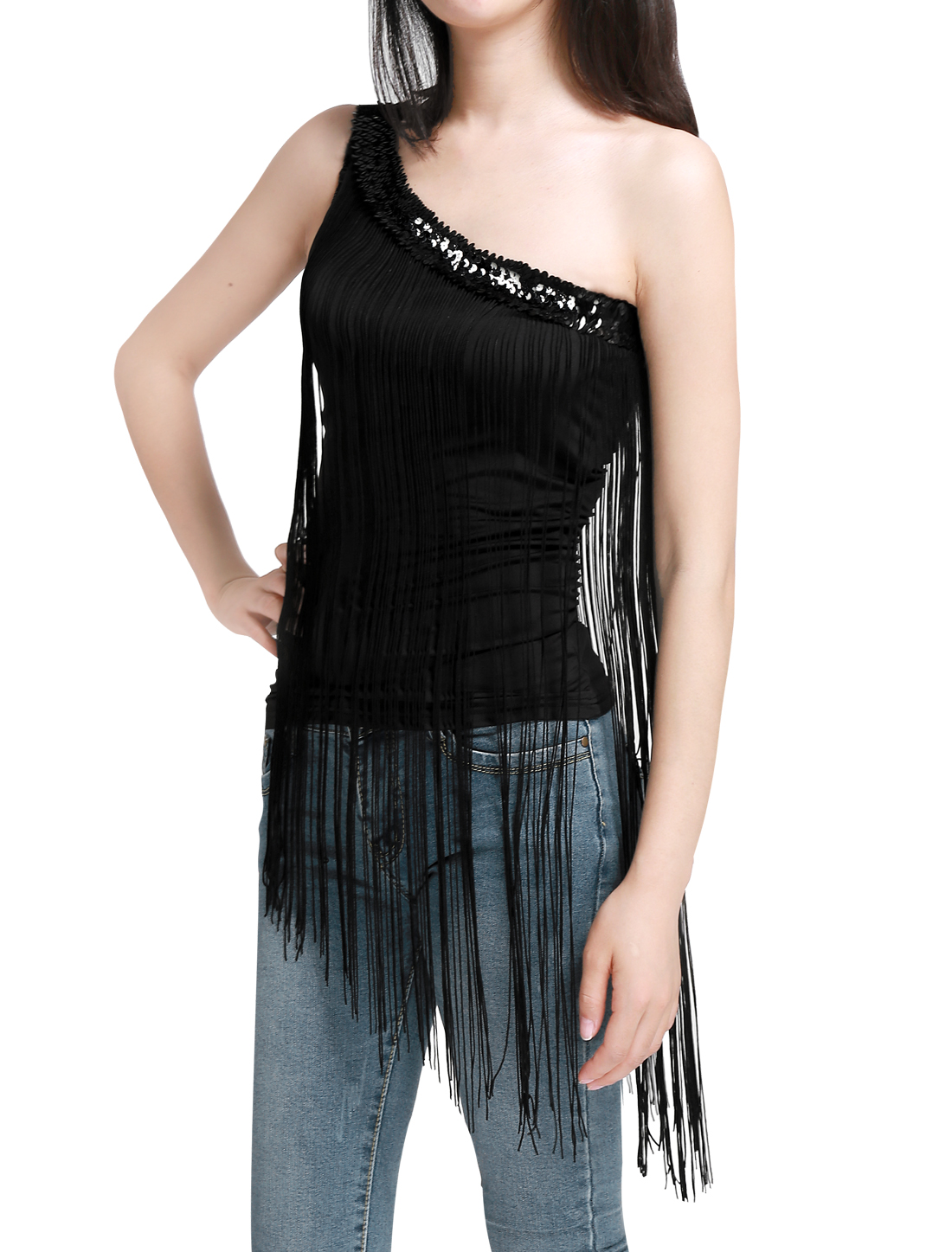 Women Sequins Asymmetric Neckline Sleeveless One Shoulder Tops Black S