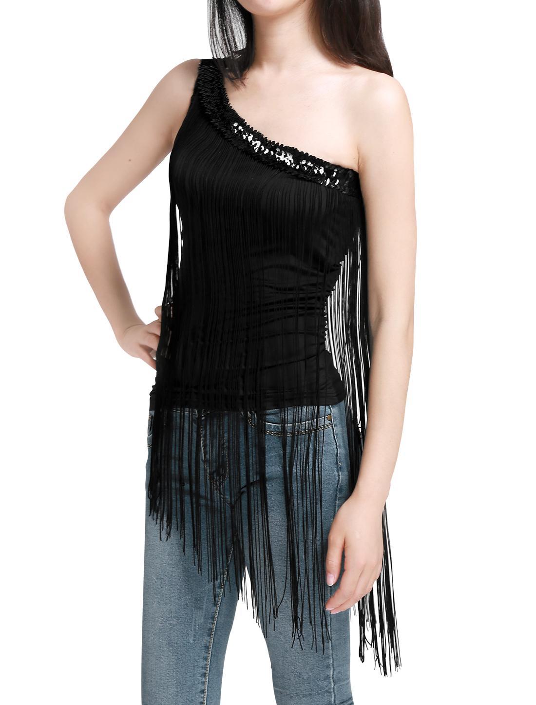 Ladies Sequins One Shoulder Sleeveless Fringe Top Black M