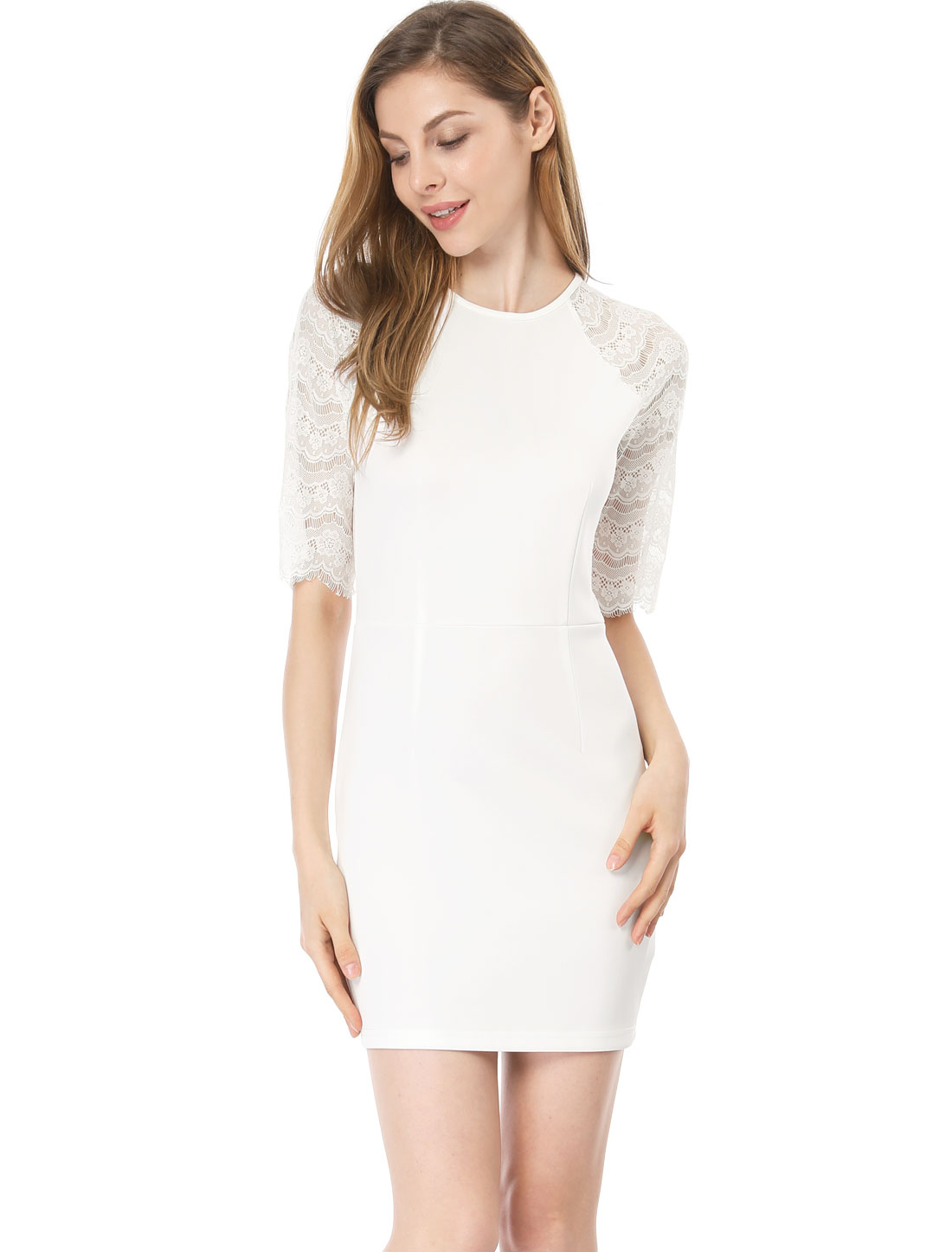 Lady Round Neck Elbow Sleeves Semi Sheer Lace Bodycon Dress White L