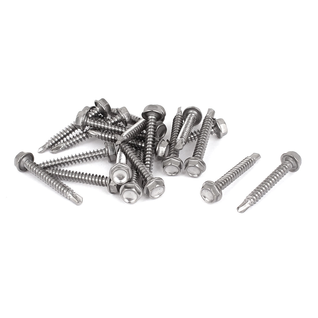 20 Pcs M4x32mm Stainless Steel Hex Head Self Drilling Tapping Screws