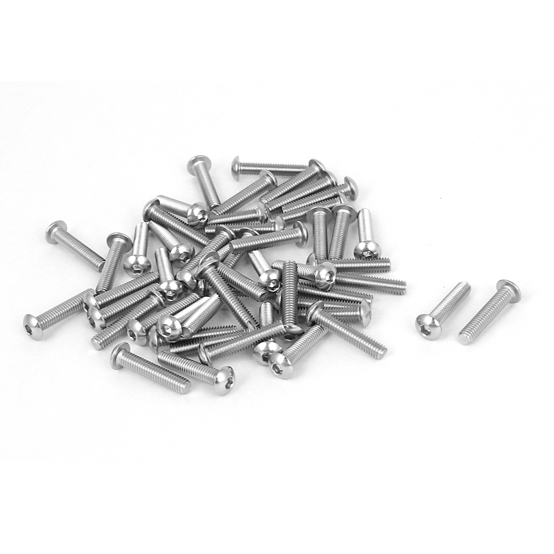 50 Pcs 2.5mm Hex Socket Key Stainless Steel Button Head Screws M4x0.7mmx20mm