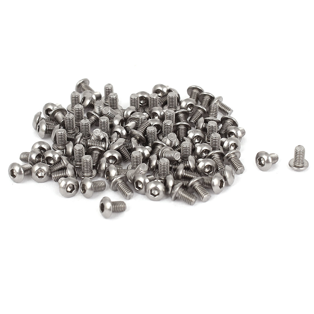 100 Pcs M3x5mmx0.5mm Stainless Steel Button Head Hex Socket Key Bolts Screws