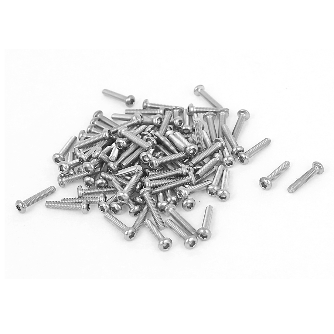 100 Pcs M2x10mm Stainless Steel Hex Socket Button Head Bolts Machine Screws