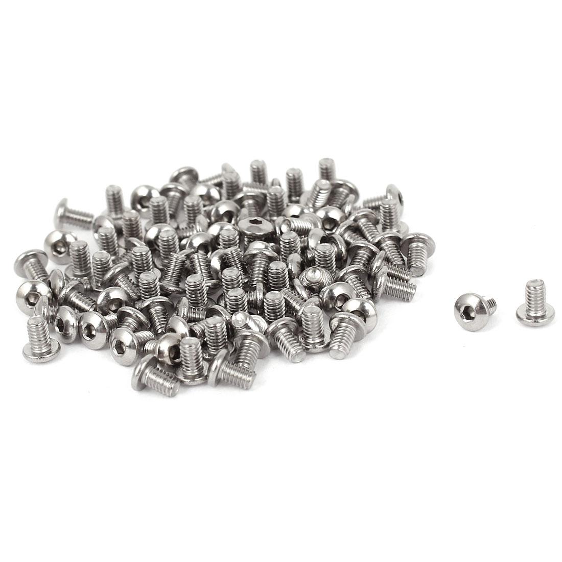 100 Pcs M2.5x4mm Stainless Steel Hex Button Head Bolts Machine Screws 5mm Long