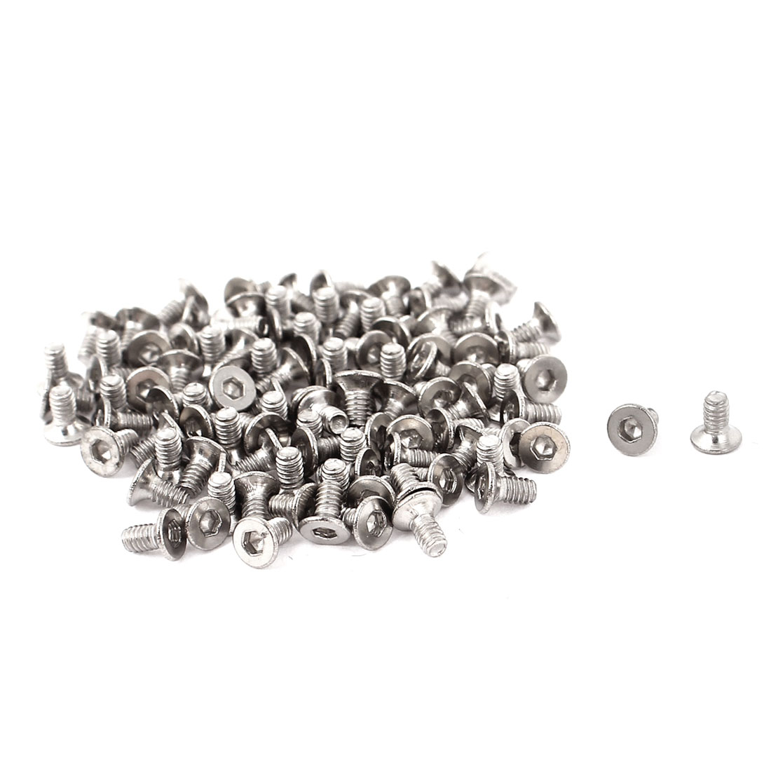 100pcs Metric M2 Stainless Steel Countersunk Flat Head Hex Socket Cap Screw Bolt