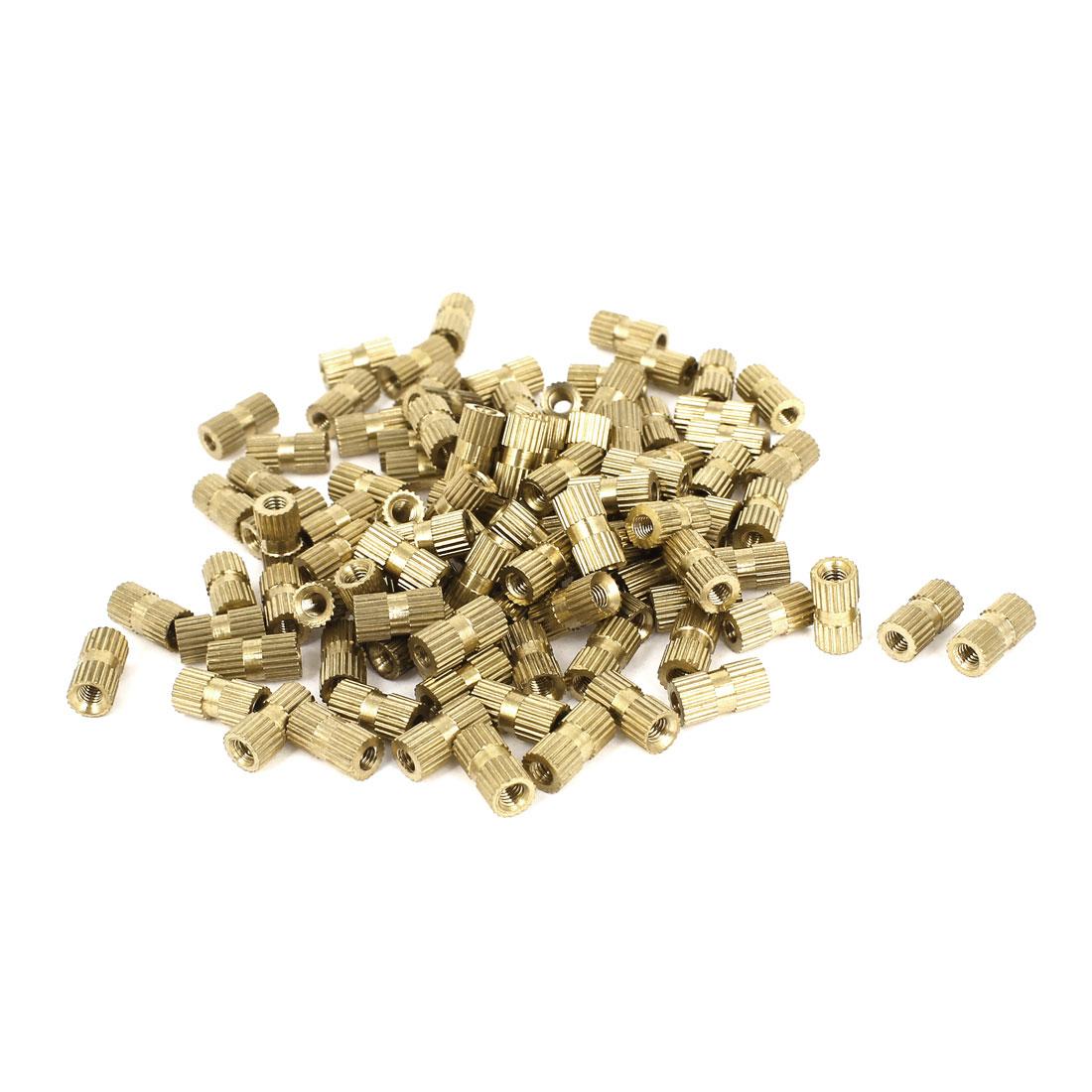 100 Pcs M3x10mm(L)-5mm(OD) Metric Threaded Nut Brass Knurl Insert Nuts Gold Tone