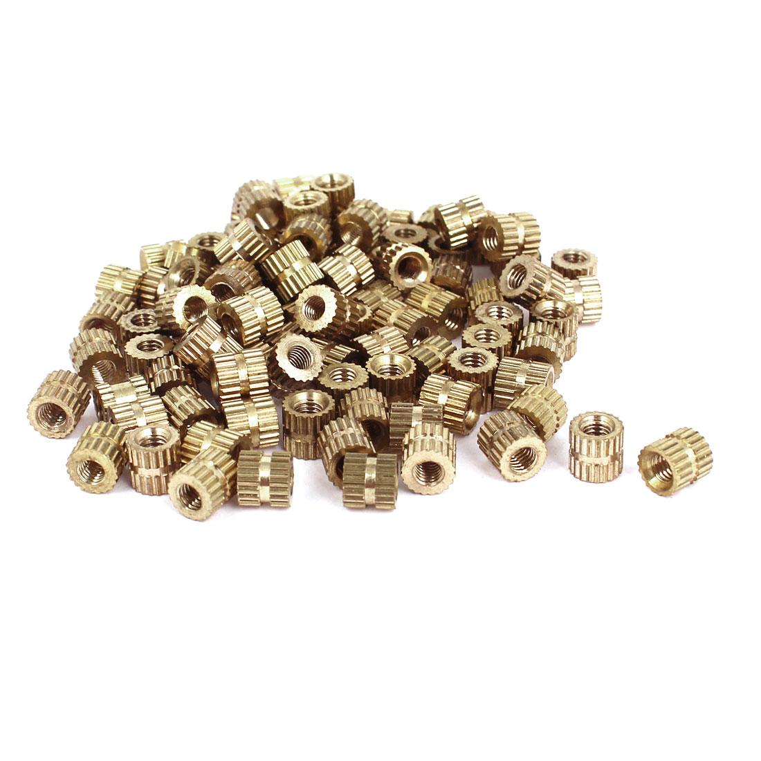 100 Pcs M3x5mm(L)-5mm(OD) Metric Threaded Brass Knurl Round Insert Nuts