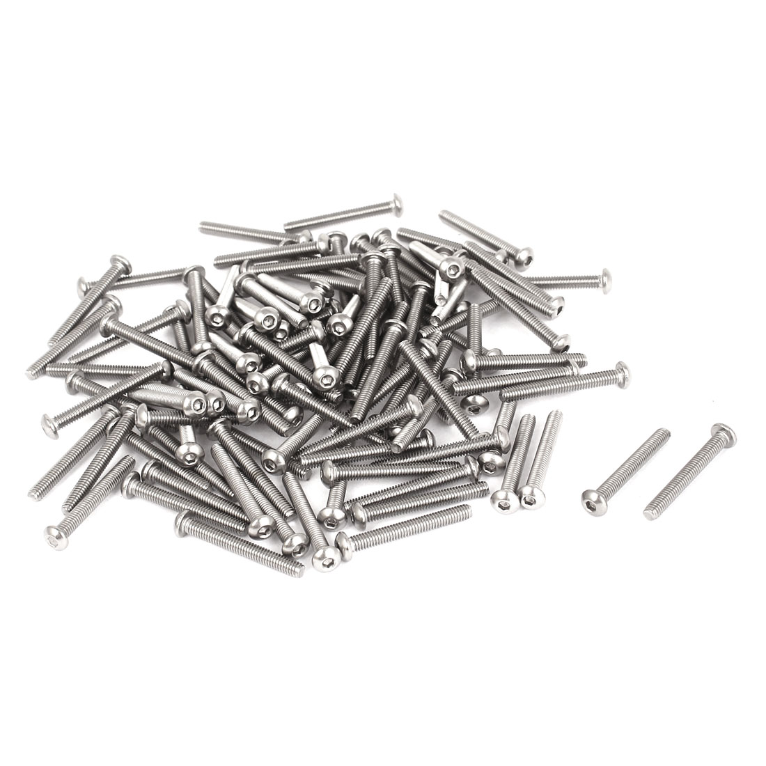 100 Pcs M2.5x20mmx0.45mm Stainless Steel Hex Socket Button Head Bolts Screws