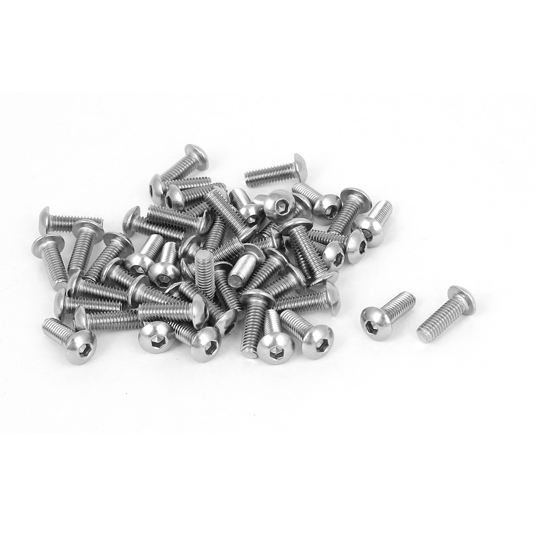 50 Pcs M4x12mm Metric Stainless Steel Hex Socket Button Head Cap Bolts Screws
