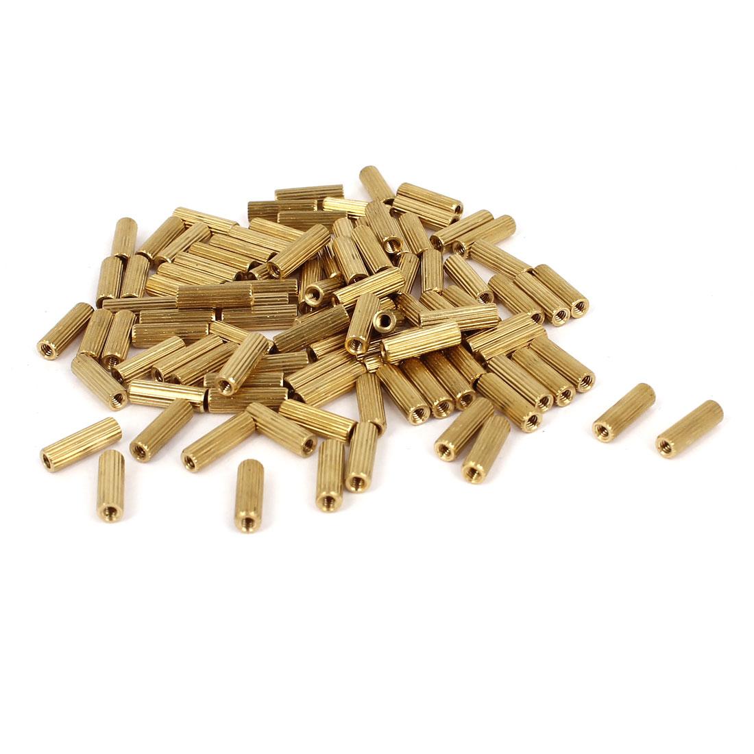 100 Pcs M2x10mm Cylinder Brass Female Spacer Nut Screw Standoffs Pillars