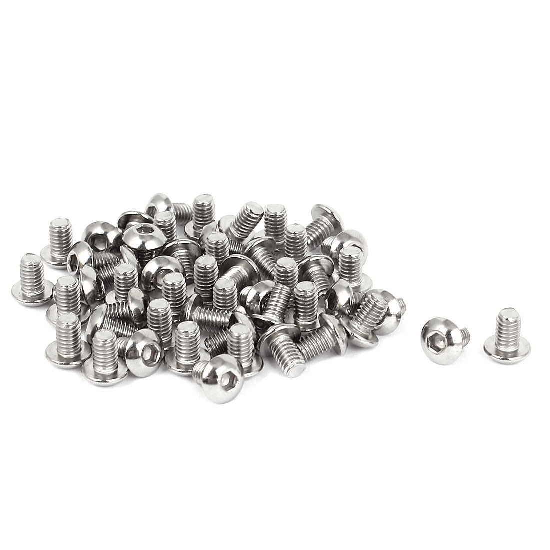 50 Pcs 2.5mm Hex Key Stainless Steel Button Head Socket Cap Screws M4x0.7mmx6mm