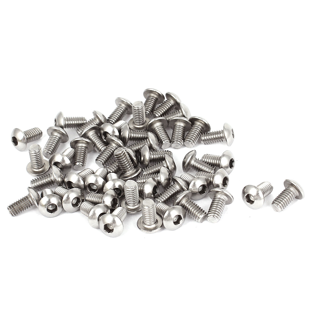 50pcs M4x0.7mmx8mm Stainless Steel Hex Socket Button Head Screws Bolts 10mm Long