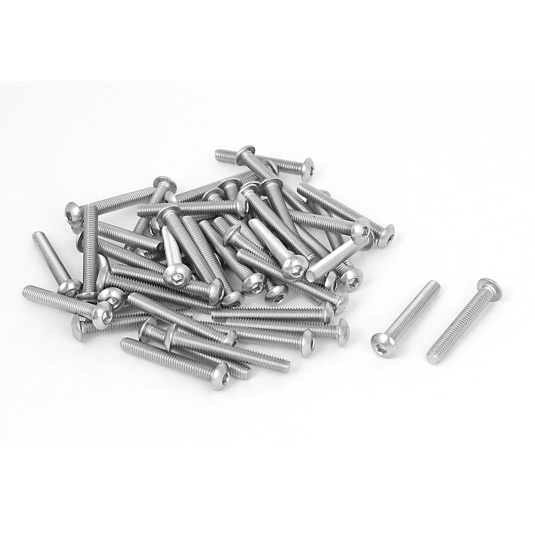 50 Pcs 0.7mm Pitch 2.5mm Stainless Steel Hex Socket Button Head Screws M4x30mm