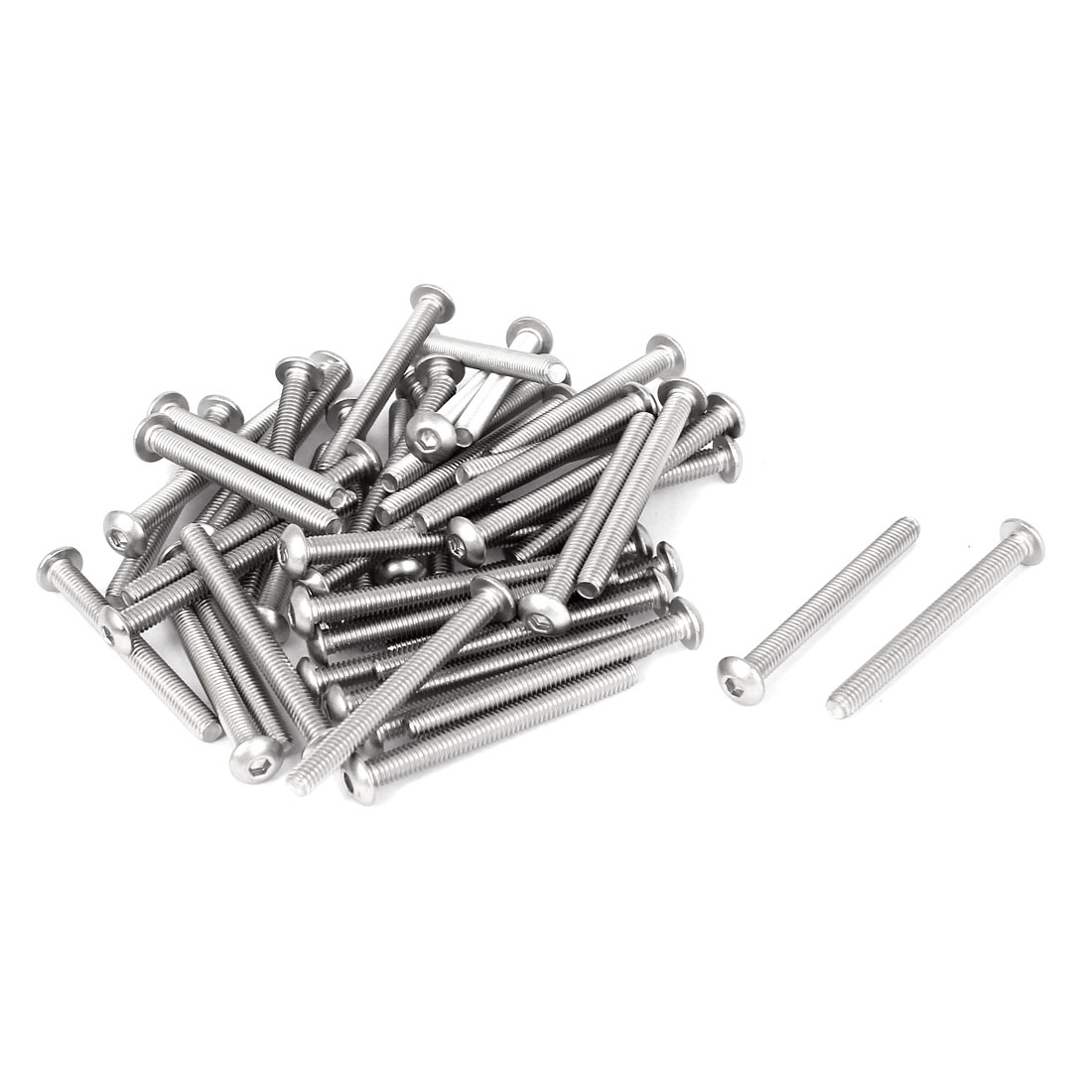 50 Pcs M4x40mm Stainless Steel Hex Socket Key Button Head Bolts Screws 42mm Long
