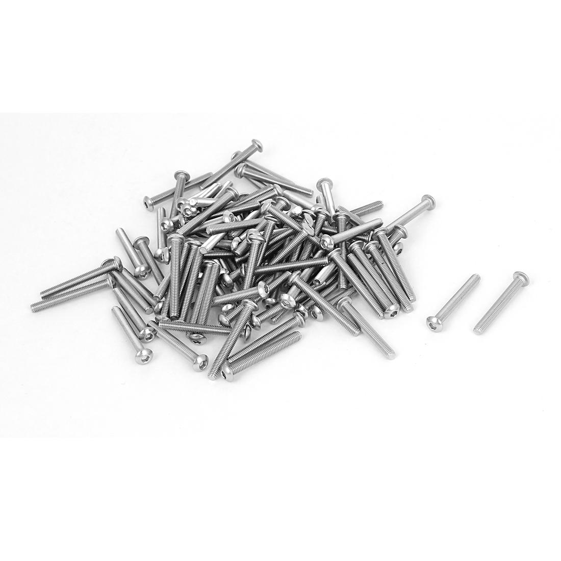 100 Pcs M3x25mm Stainless Steel Button Head Socket Cap Bolts Machine Screws