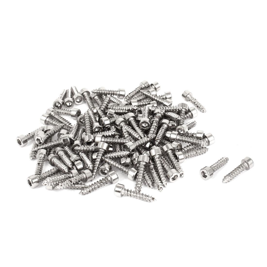 100 Pcs Nickel Plated Hexagon Socket Cap Head Self Tapping Wood Screws M3.5x16mm