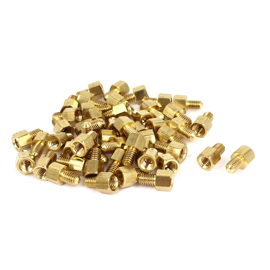 Motherboard M4x5mm+6mm Female Male Threaded Brass Hex Standoff Spacer 50 Pcs