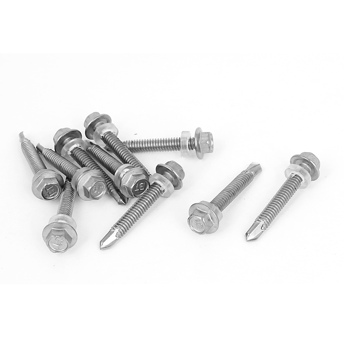 10 Pcs M5.5x38mm Hex Neoprene Washer Head Self Drilling Tapping Roofing Screws