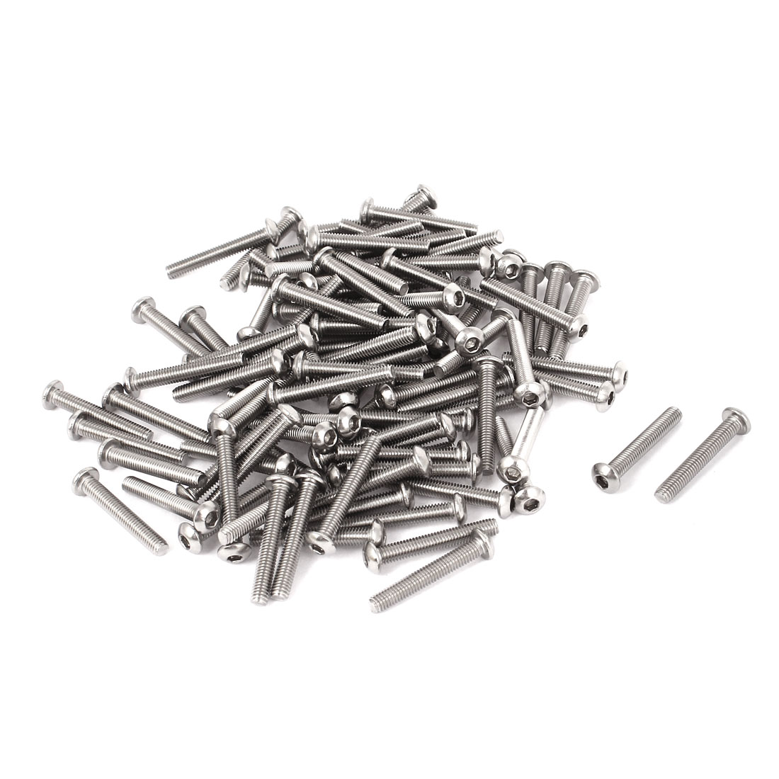 100 Pcs M3x20mm Stainless Steel Button Head Hex Socket Bolts Screws 0.5mm Pitch