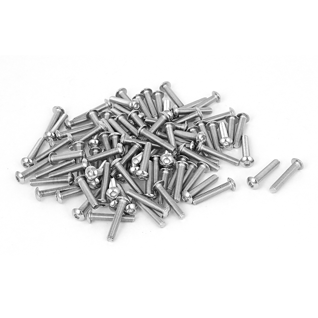 100 Pcs M3x16mm Stainless Steel Hex Socket Button Head Bolts Screws 0.5mm Pitch