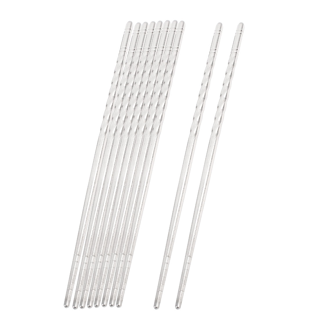 Home Kitchen Stainless Steel Chopsticks Tableware Silver Tone 22.5cm 5 Pairs