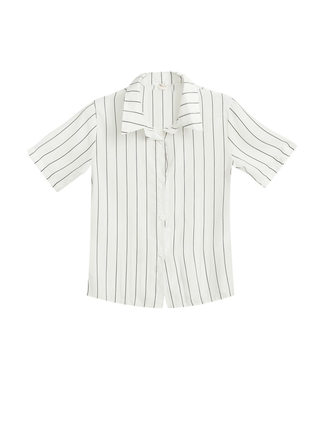 Ladies Point Collar Short Sleeves Stripes Semi Sheer Chiffon Shirts White XS