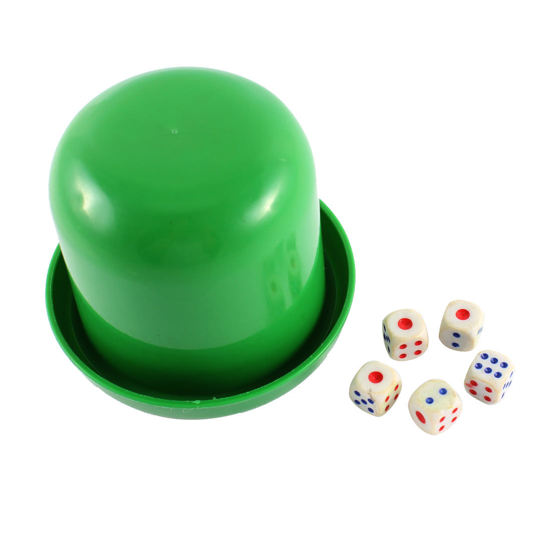 KTV Party Bar Casino Green Round Plastic Shaker Cup w 5 Pcs Dices