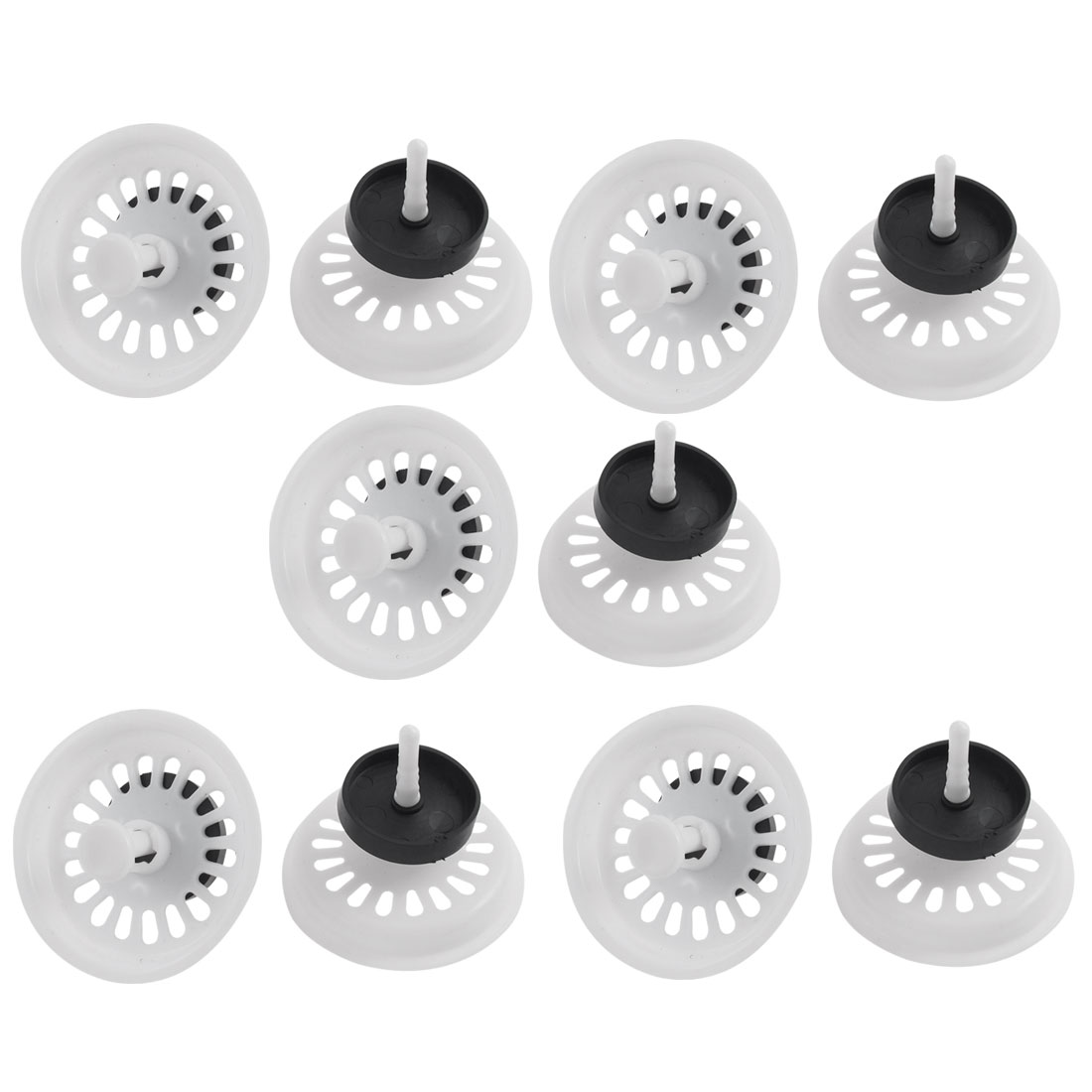 "Home Kitchen White Plastic Water Sink Drainer Strainer Filter Cover 3"" Dia 10pcs"