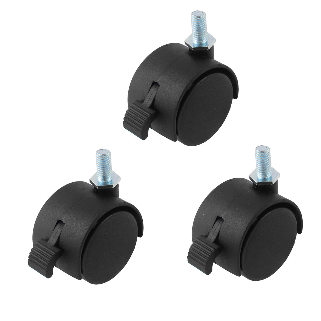 "Black Nylon 1.5"" Twin Wheel 5/16"" x 5/8"" Threaded Stem Brake Swivel Casters 3pcs"