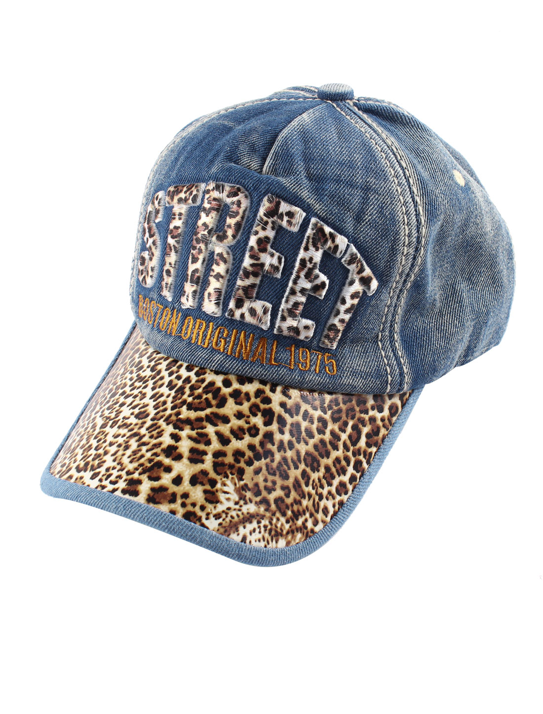 Unisex Blue Denim Slide Buckle Leopard Print Visor Front Baseball Hat