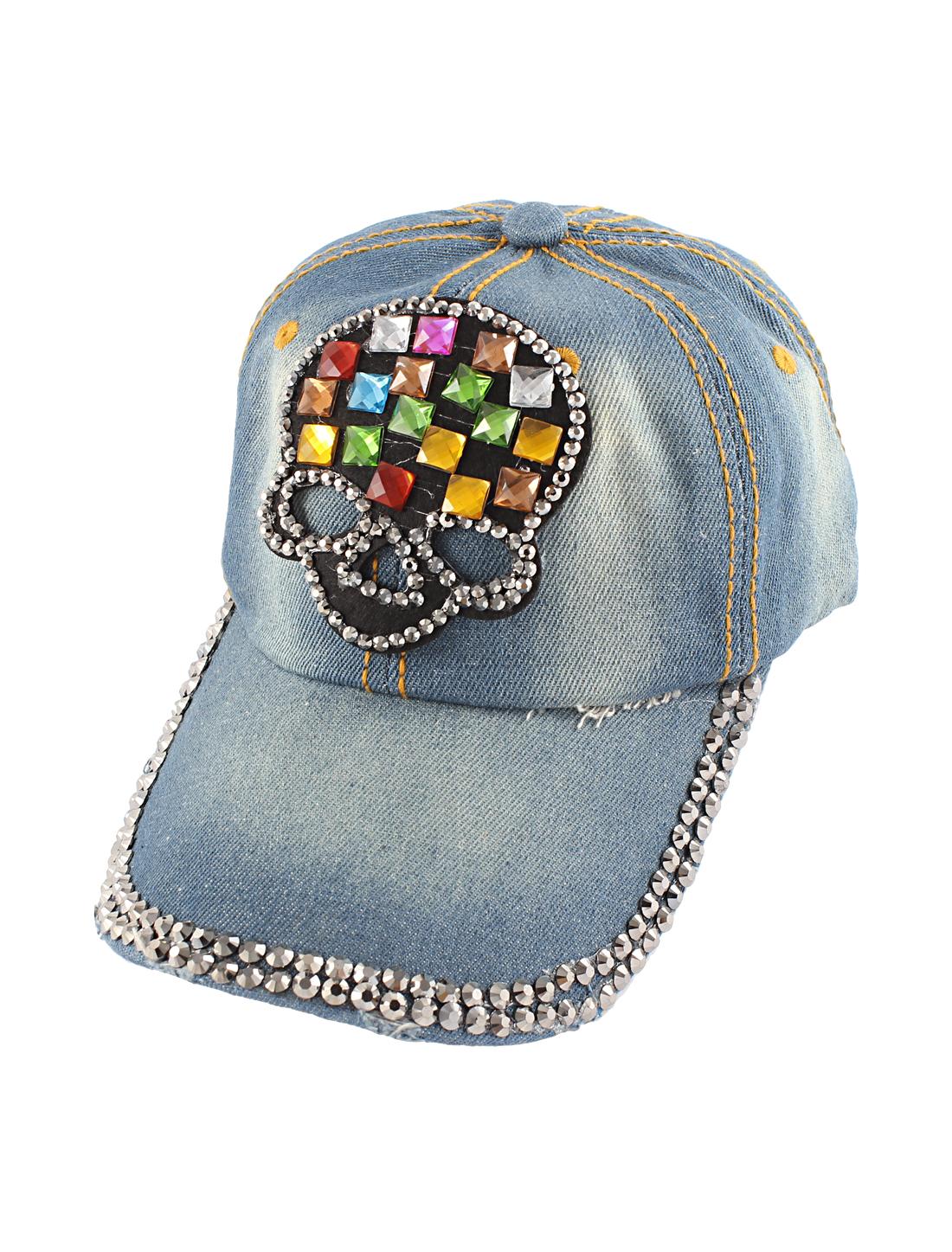 Lady Blue Denim Slide Buckle Faux Rhinestone Skull Detail Visor Front Baseball Hat