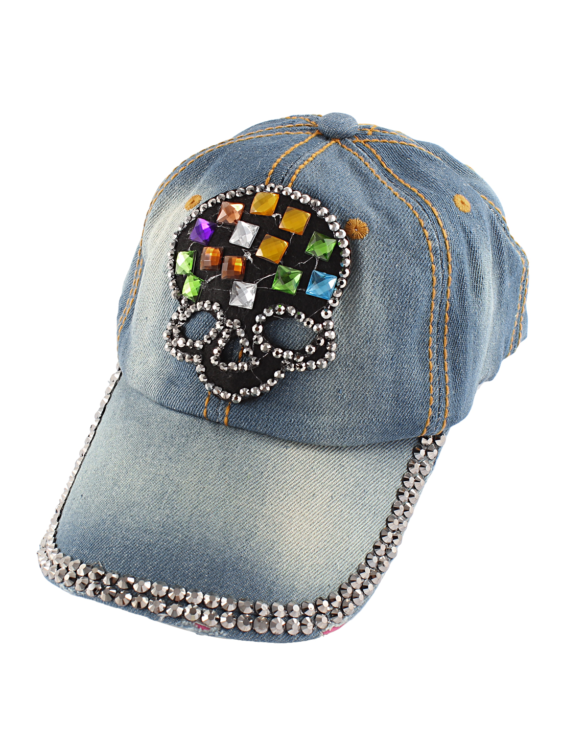 Woman Blue Denim Slide Buckle Faux Rhinestone Skull Decor Visor Front Baseball Hat
