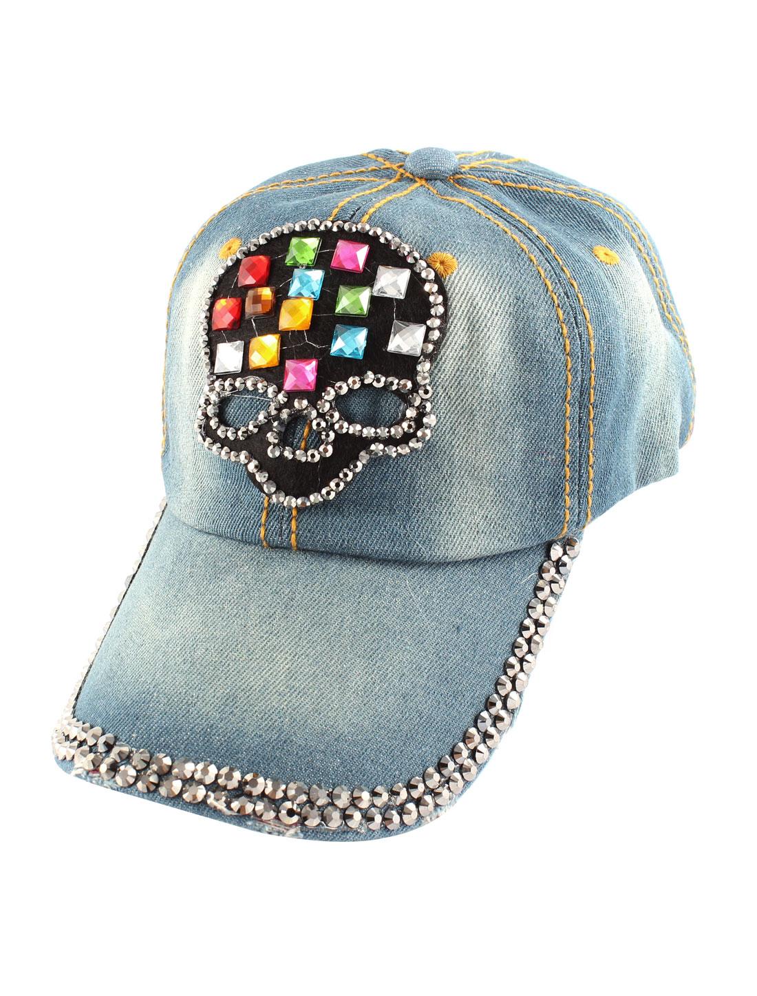 Blue Denim Slide Buckle Faux Rhinestone Skull Detail Visor Front Baseball Hat