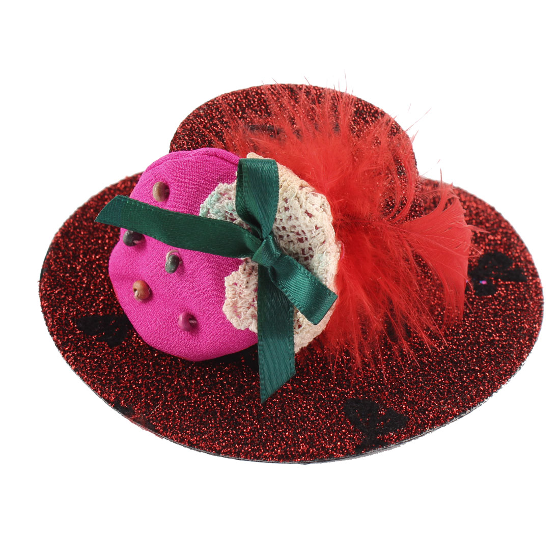 Lady Bowknot Print Fuchsia Strawberry Detail Glittery Tinsel Coated Top Hat Hairclip Red