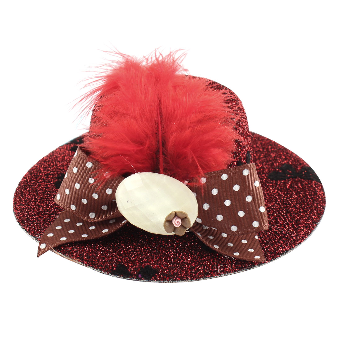 Lady Mini Bowknot Feather Brown Flower Detail Glittery Tinsel Coated Top Hat Hairclip Red