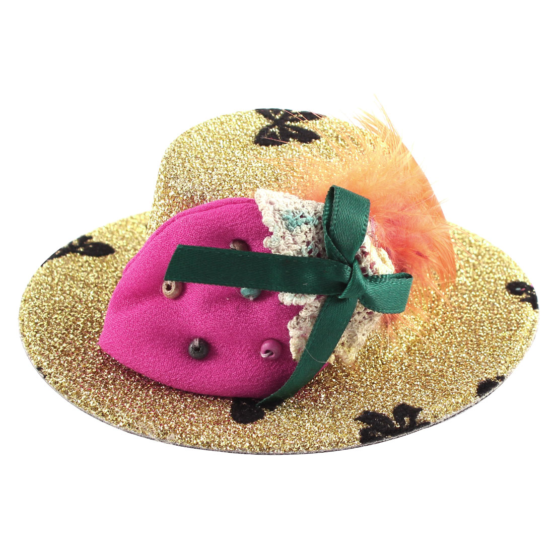 Lady Bowknot Print Fuchsia Strawberry Detail Glittery Tinsel Coated Top Hat Hairclip Gold Tone