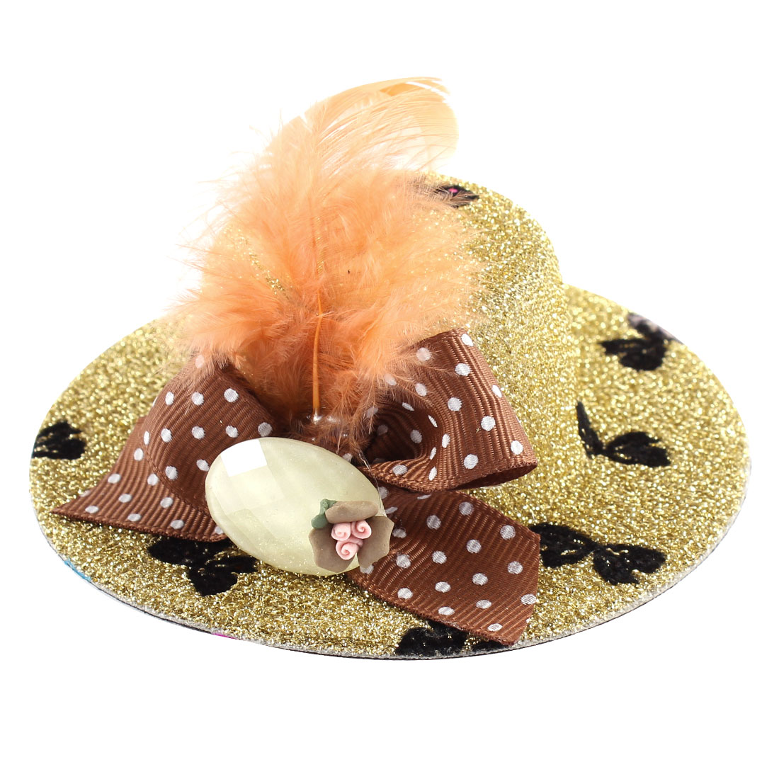 Lady Mini Bowknot Feather Brown Flower Detail Glittery Tinsel Coated Top Hat Hairclip Gold Tone