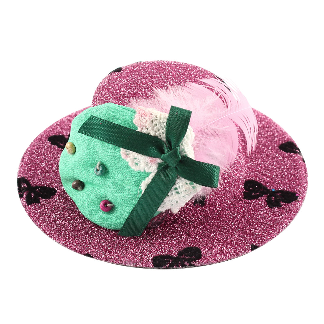 Lady Bowknot Print Cyan Strawberry Detail Glittery Tinsel Coated Top Hat Hairclip Pink