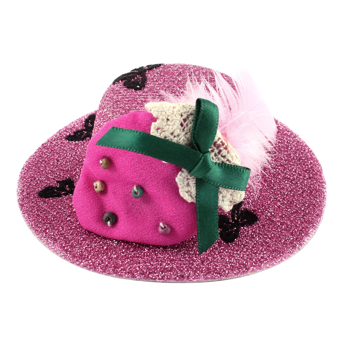 Lady Bowknot Print Fuchsia Strawberry Detail Glittery Tinsel Coated Top Hat Hairclip Pink