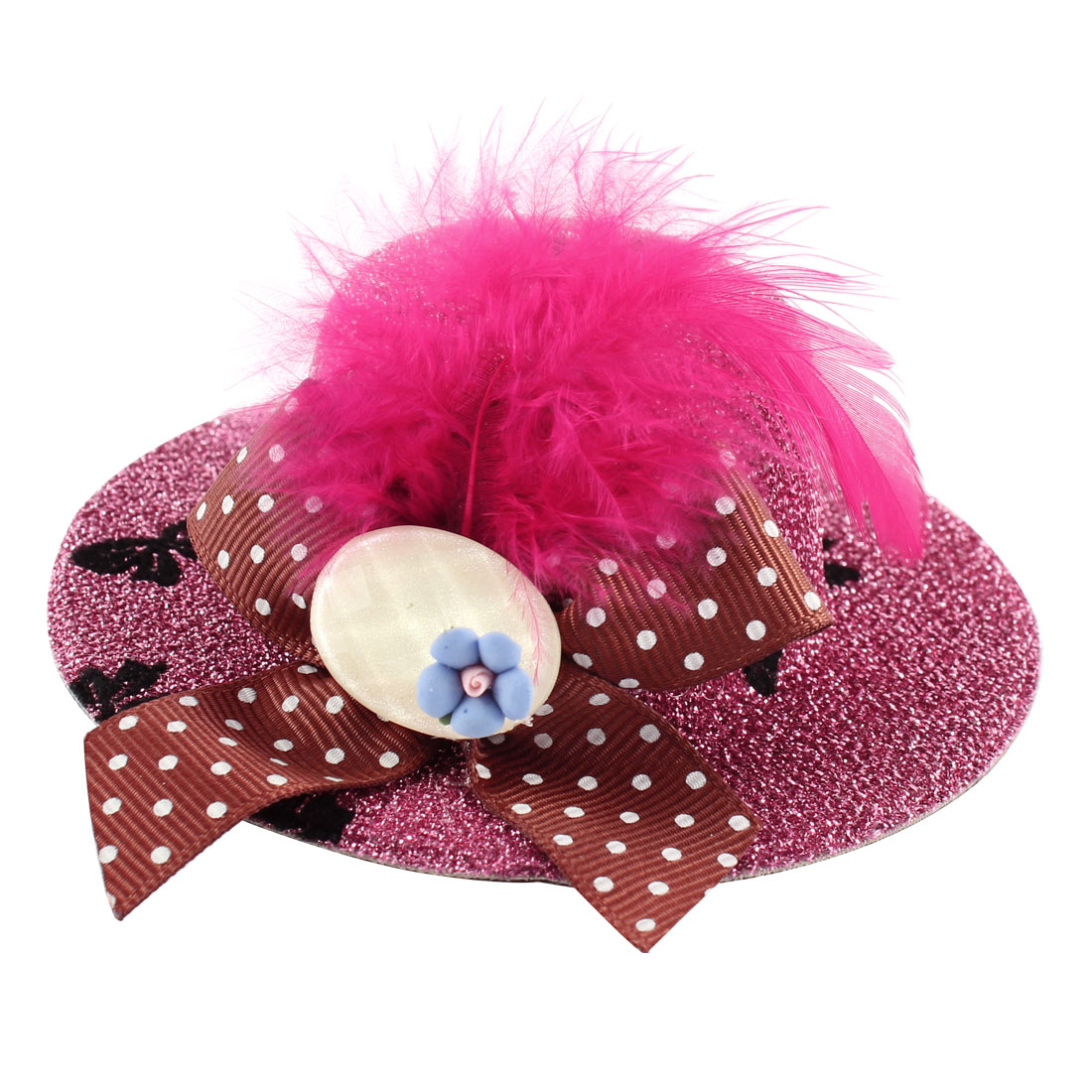 Lady Mini Bowknot Feather Blue Flower Detail Glittery Tinsel Coated Top Hat Hairclip Pink