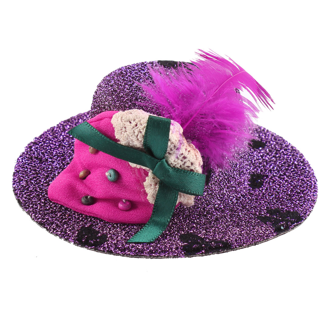 Lady Bowknot Print Fuchsia Strawberry Detail Glittery Tinsel Coated Top Hat Hairclip Purple