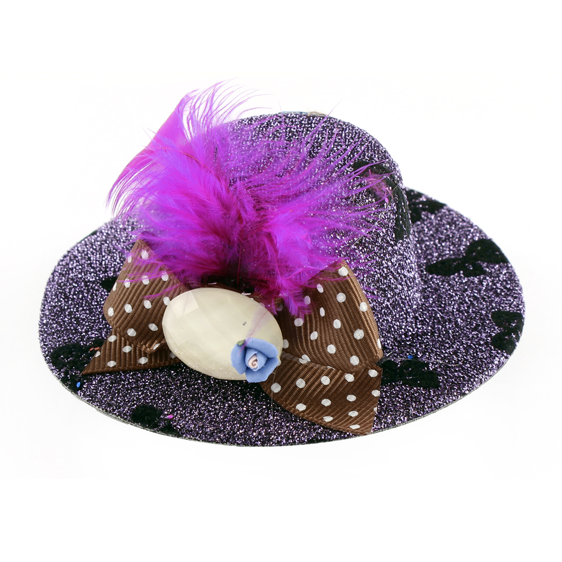 Lady Mini Bowknot Feather Blue Flower Detail Glittery Tinsel Coated Top Hat Hairclip Purple