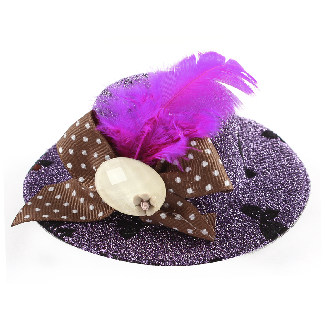 Lady Mini Bowknot Feather Brown Flower Detail Glittery Tinsel Coated Top Hat Hairclip Purple