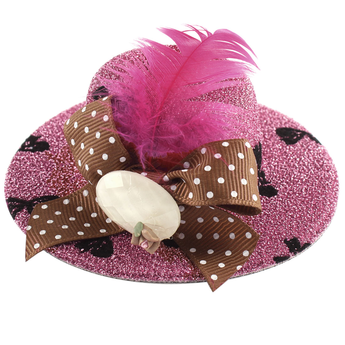 Lady Mini Bowknot Feather Brown Flower Detail Glittery Tinsel Coated Top Hat Hairclip Pink