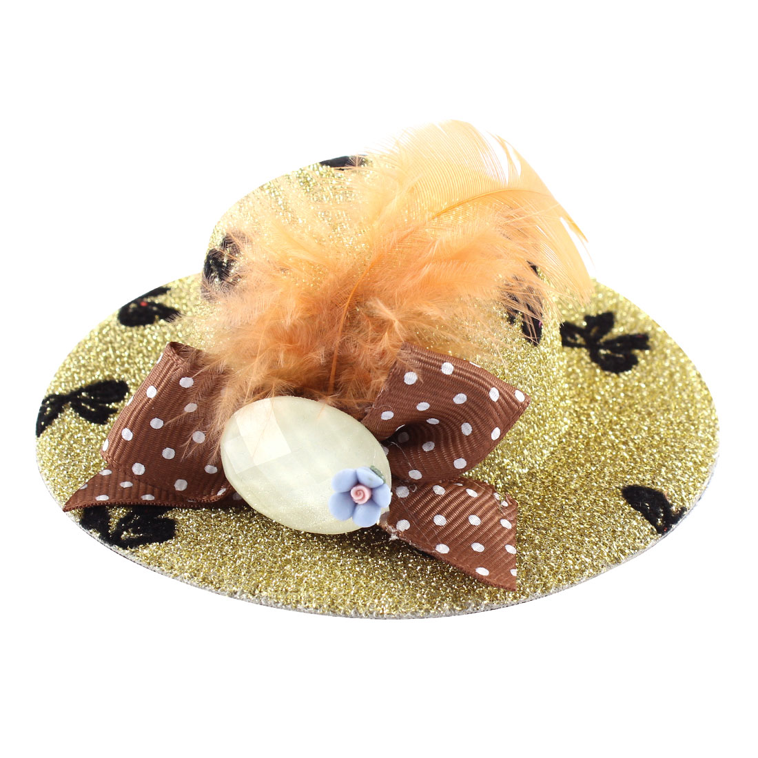 Lady Mini Bowknot Feather Blue Flower Detail Glittery Tinsel Coated Top Hat Hairclip Gold Tone
