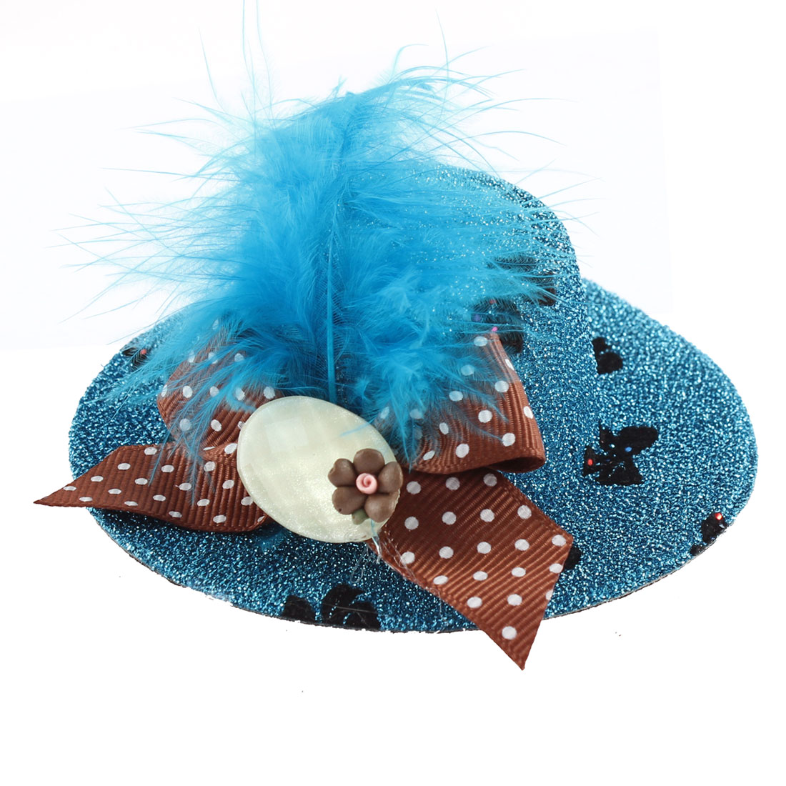 Lady Mini Bowknot Feather Brown Flower Detail Glittery Tinsel Coated Top Hat Hairclip Blue