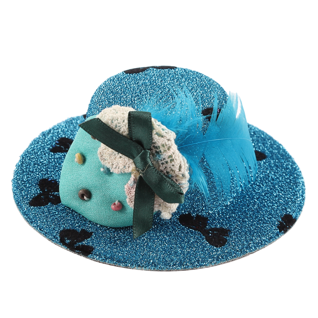 Lady Bowknot Print Cyan Strawberry Detail Glittery Tinsel Coated Top Hat Hairclip Blue