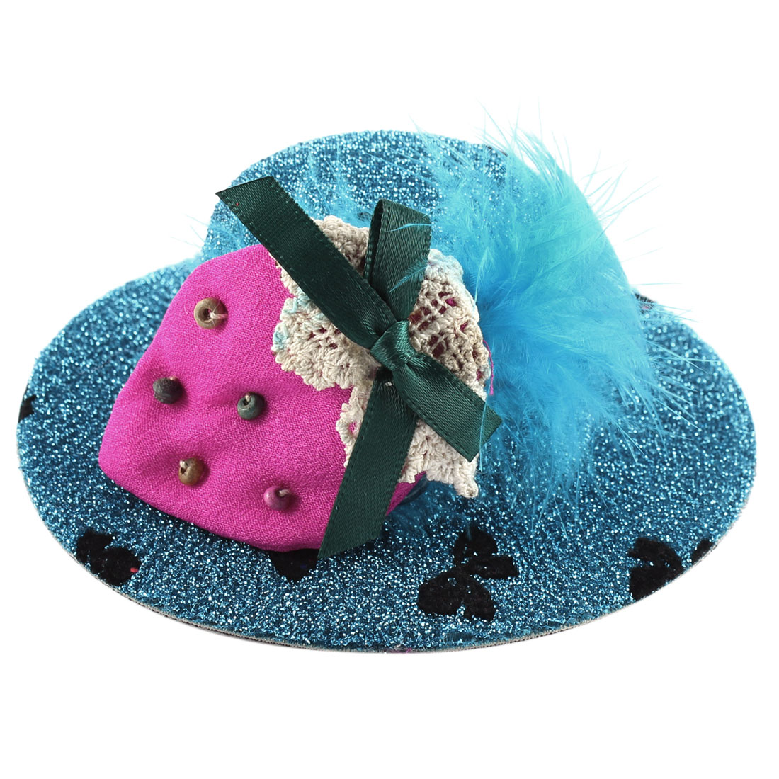 Lady Bowknot Print Fuchsia Strawberry Detail Glittery Tinsel Coated Top Hat Hairclip Blue