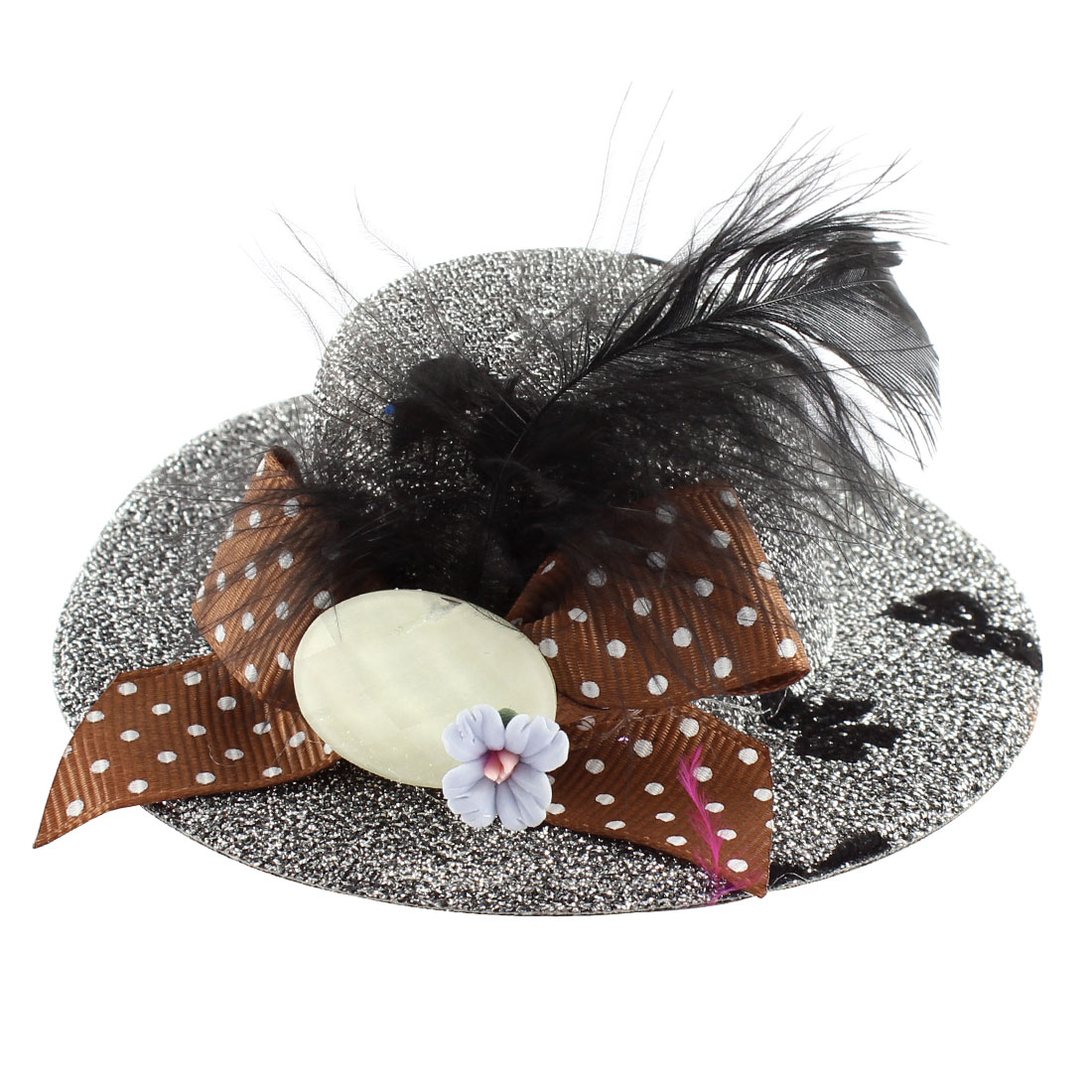 Lady Mini Bowknot Feather Blue Flower Detail Glittery Tinsel Coated Top Hat Hairclip Silver Tone